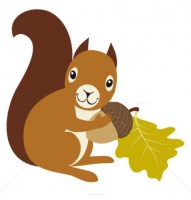 stock-vector-squirrel-with-acorn-and-oak-leaf-on-white-background-86490016
